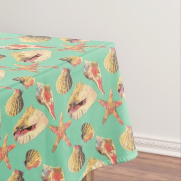 Beach Themed Sea Shells on Aqua Tablecloth