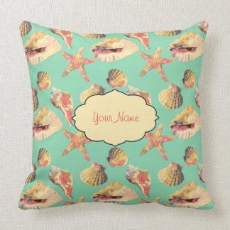 Sea Shells on Aqua Throw Pillow