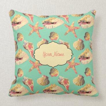 Beach Themed Sea Shells on Aqua Throw Pillow