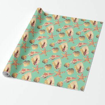 Beach Themed Sea Shells on Aqua Wrapping Paper