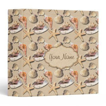 Beach Themed Sea Shells on Beach Sand 3 Ring Binder