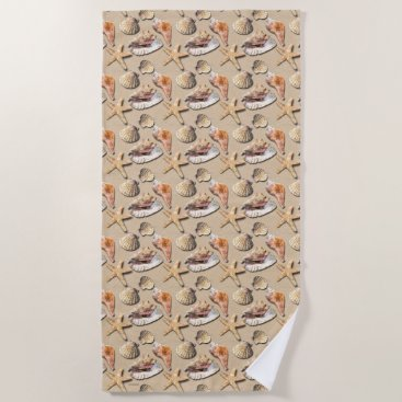Beach Themed Sea Shells on Beach Sand Beach Towel