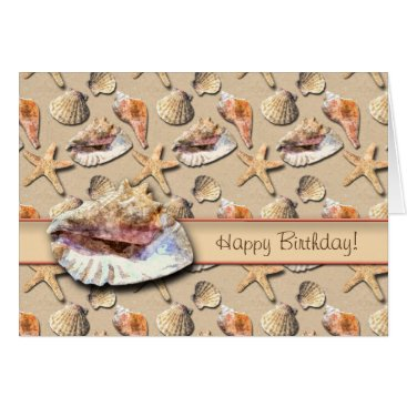 Beach Themed Sea Shells on Beach Sand Card