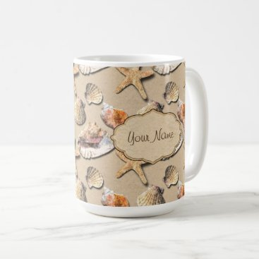 Beach Themed Sea Shells on Beach Sand Coffee Mug