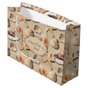 Beach Themed Sea Shells on Beach Sand Large Gift Bag
