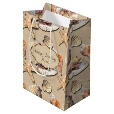 Beach Themed Sea Shells on Beach Sand Medium Gift Bag