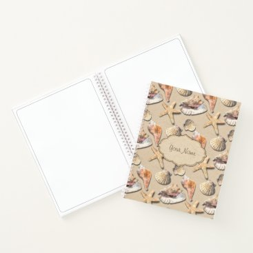 Beach Themed Sea Shells on Beach Sand Notebook