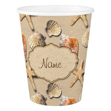 Beach Themed Sea Shells on Beach Sand Paper Cup