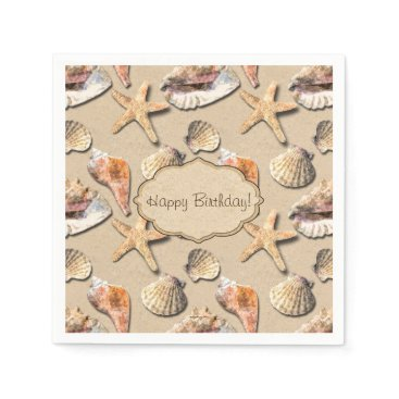 Beach Themed Sea Shells on Beach Sand Paper Napkin