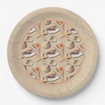 Beach Themed Sea Shells on Beach Sand Paper Plate