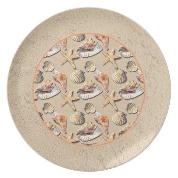 Beach Themed Sea Shells on Beach Sand Plate