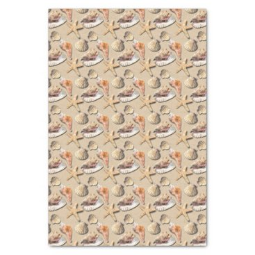 Beach Themed Sea Shells on Beach Sand Tissue Paper