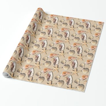 Beach Themed Sea Shells on Beach Sand Wrapping Paper