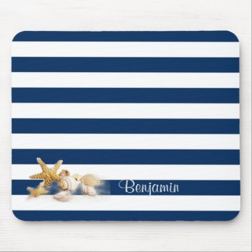 Beach Themed Sea shells  On Navy Blue Stripes-Personalized Mouse Pad