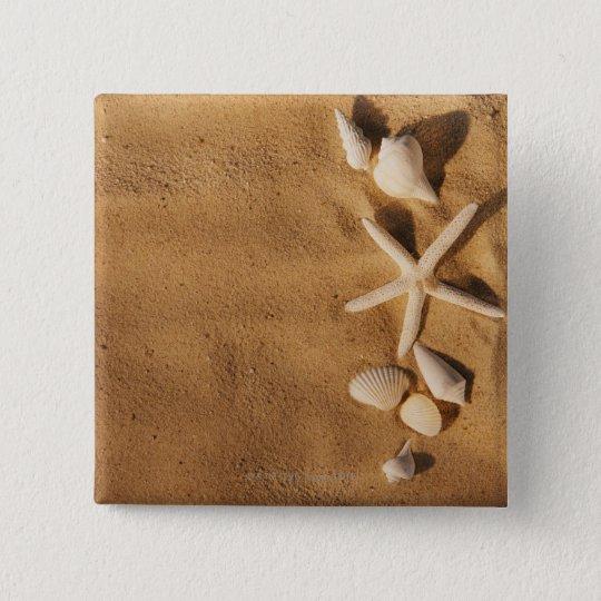 Sea shells on sand button