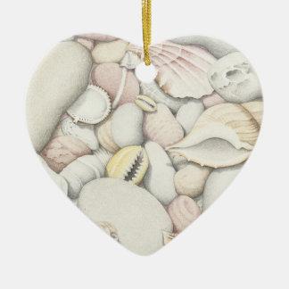 Sea Shells & Pebbles in Pencil Heart Ornament