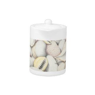Sea Shells & Pebbles in Pencil Small Teapot