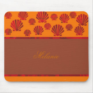 Sea Shells Personalized Red, Orange, and Brown Mouse Pad