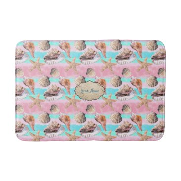 Beach Themed Sea Shells Pink and Turquoise Watercolor Bath Mat