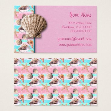Beach Themed Sea Shells Pink and Turquoise Watercolor Business Card