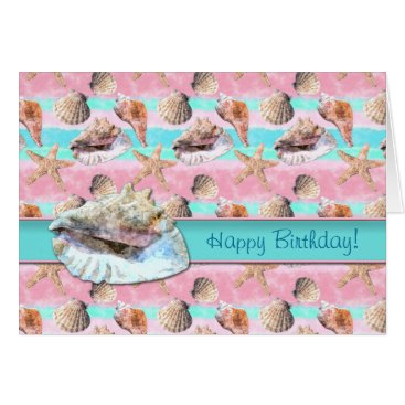 Beach Themed Sea Shells Pink and Turquoise Watercolor Card