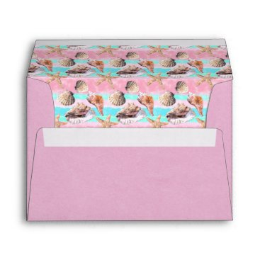 Beach Themed Sea Shells Pink and Turquoise Watercolor Envelope
