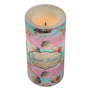 Beach Themed Sea Shells Pink and Turquoise Watercolor Flameless Candle