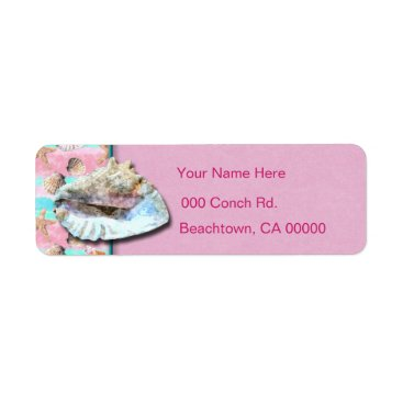 Beach Themed Sea Shells Pink and Turquoise Watercolor Label
