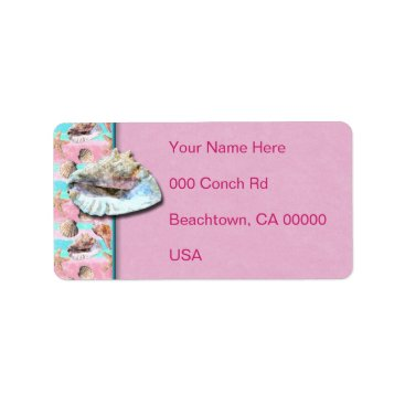 linda_mn Sea Shells Pink and Turquoise Watercolor Label