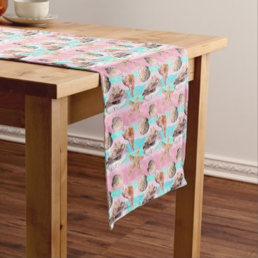 Beach Themed Sea Shells Pink and Turquoise Watercolor Medium Table Runner