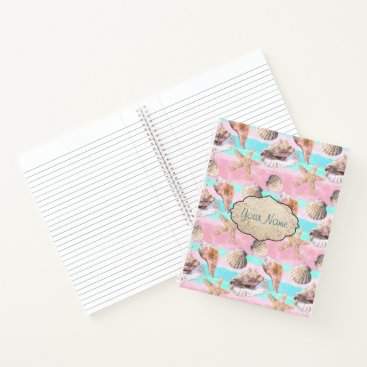 Beach Themed Sea Shells Pink and Turquoise Watercolor Notebook