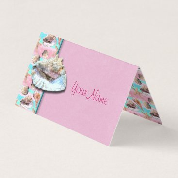 linda_mn Sea Shells Pink and Turquoise Watercolor Place Card