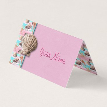 Beach Themed Sea Shells Pink and Turquoise Watercolor Place Card