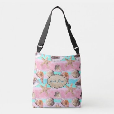 Beach Themed Sea Shells Pink and Turquoise Watercolor Stripes Crossbody Bag