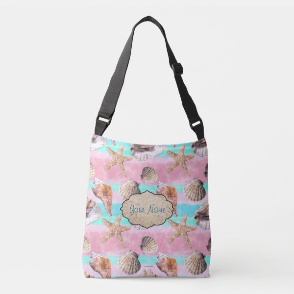 Sea Shells Pink and Turquoise Watercolor Stripes Crossbody Bag