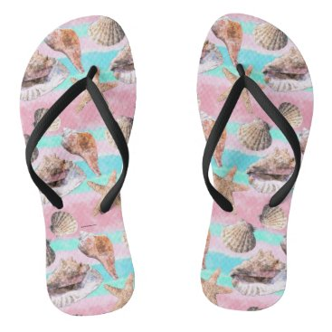 Beach Themed Sea Shells Pink and Turquoise Watercolor Stripes Flip Flops