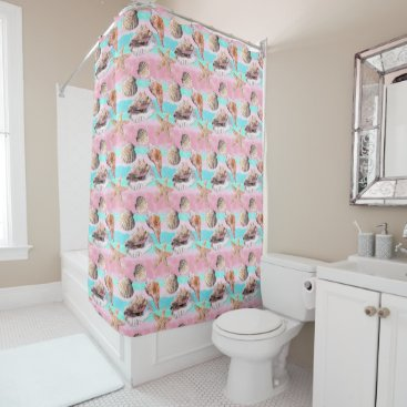Beach Themed Sea Shells Pink and Turquoise Watercolor Stripes Shower Curtain