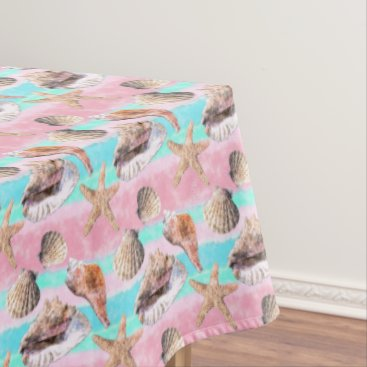 Beach Themed Sea Shells Pink and Turquoise Watercolor Tablecloth