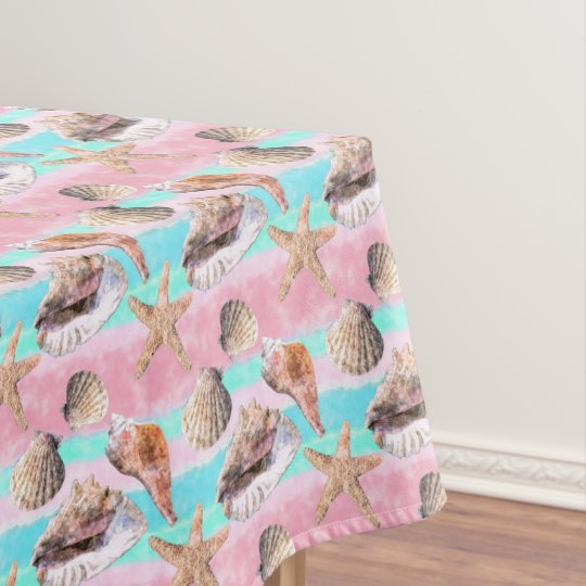 sea shells pink and turquoise watercolor tablecloth zazzle com