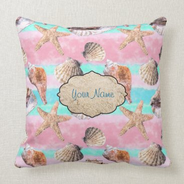 Beach Themed Sea Shells Pink and Turquoise Watercolor Throw Pillow