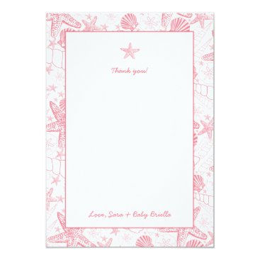 Beach Themed Sea Shells Pink Baby Shower thank you notes Card