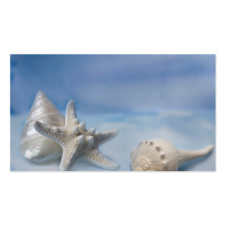 Sea Shells Star Fish Hand Painted Blue Watercolor Business Card Templates