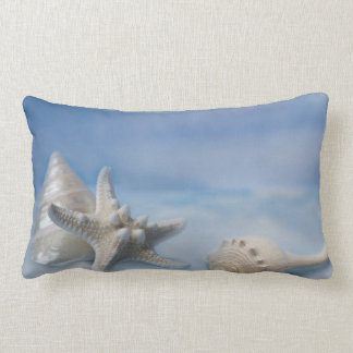 Sea Shells Star Fish Hand Painted Blue Watercolor Throw Pillow