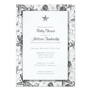Beach Themed Sea Shells Starfish silhouette Baby Shower Invites