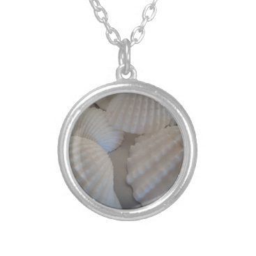 Beach Themed Sea Shells, Summer Beach Exotic Tropical Romantic Silver Plated Necklace