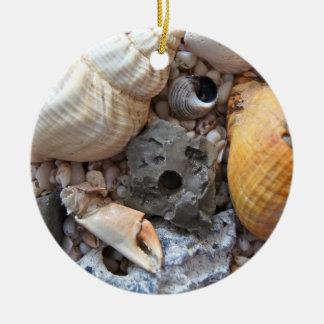 Sea Shells Upon the Beach Ceramic Ornament