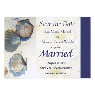 Sea Shells Wedding Save the Date Card Personalized Invites