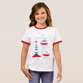 Sea, ships, lighthouses ringer T-Shirt