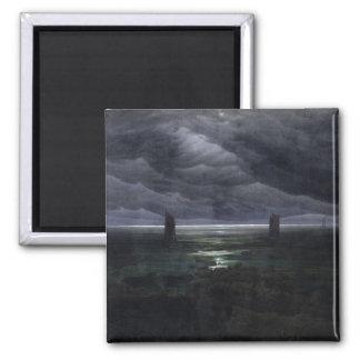 Sea Shore in Moonlight, 1835-36 2 Inch Square Magnet