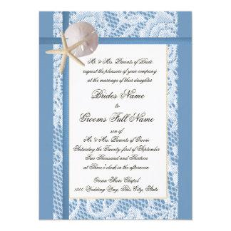 Sea Shore Romance Lace Wedding Card